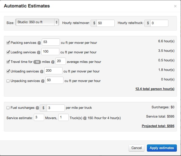 Job Estimates Calculator